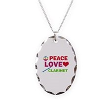 Peace Love Clarinet Necklace Oval Charm