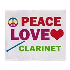 Peace Love Clarinet Throw Blanket