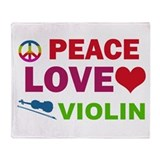Peace Love Violin Throw Blanket