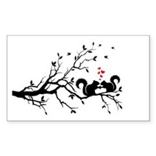 Squrrels with red hearts on tree branch Decal