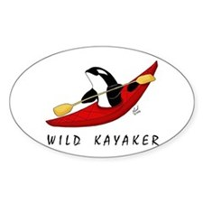 Wild Kayaker Oval Decal