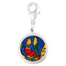 Abstract Nativity Silver Christmas Charm