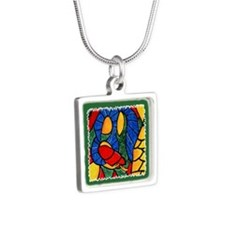 Abstract Nativity Silver Christmas Necklace