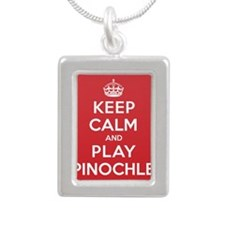 Keep Calm Play Pinochle Silver Portrait Necklace