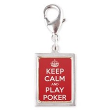 Keep Calm Play Poker Silver Portrait Charm