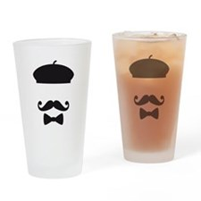 Face with french hat, mustache and tie Drinking Gl