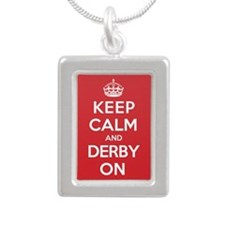 Keep Calm Derby Silver Portrait Necklace