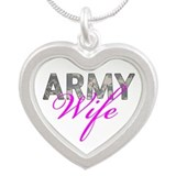 ACU Army Wife Silver Heart Necklace