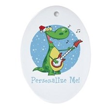 Rockin Christmas Dino Ornament (Oval)