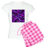 Funky Purple Swirl Fractal Art Pattern Pajamas