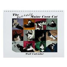 B&W Maine Coon Cat Wall Calendar