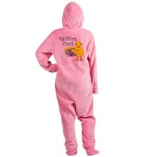 Quilting Chick Text Footed Pajamas