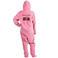 finnish spitz mom darks.png Footed Pajamas