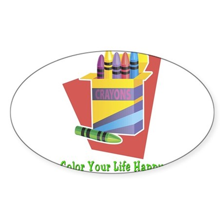 A Happy Life Oval Sticker