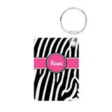 Pink Zebra Personalized Aluminum Photo Keychain