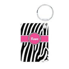 Pink Zebra Personalized Keychains