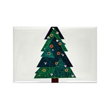 Sweet Stained Glass Christmas Tree Rectangle Magne