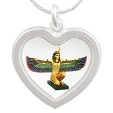 Winged Maat Silver Heart Necklace
