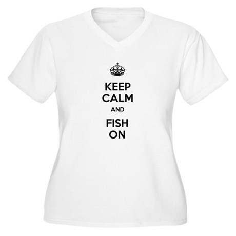 Keep Calm and Fish On Women's Plus Size V-Neck T-S