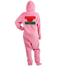 Heart Hungary Flag Footed Pajamas