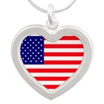 United states flag Silver Heart Necklace