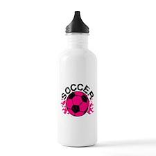 Hot Pink Soccer Flames Water Bottle