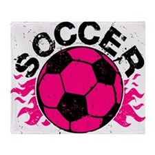 Hot Pink Soccer Flames Throw Blanket