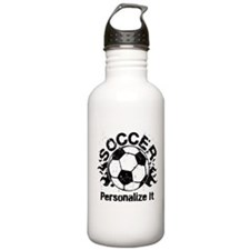 Personalized Soccer Flames Sports Water Bottle
