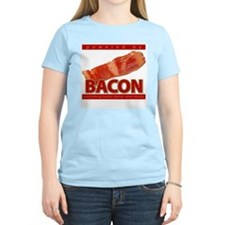"""Powered by BACON"" Women's Pink T-Shirt"