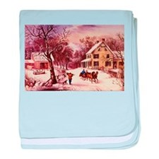 Curry Ives American Homestead Winter baby blanket