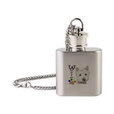 Westie Dog and Paw Print Design Flask Necklace