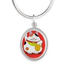 Good Luck Maneki Neko Silver Oval Necklace