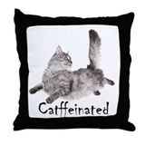 Catffeinated Throw Pillow