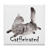 Catffeinated Tile Coaster
