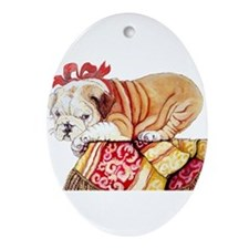 Unique Bull dog Ornament (Oval)