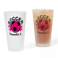 Personalized Soccer Flames Drinking Glass