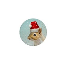Santa Claus Squirrel Christmas Mini Button 10 pack