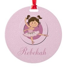 cute personalized pink ballet girl Round Ornament