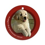 Golden Puppy's 1st Christmas Round Red Ornament