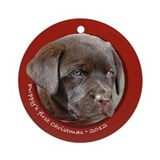 Lab Puppy's 1st Christmas Round Red Ornament