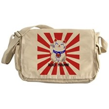cute personalized lucky Japanese cat Messenger Bag