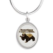 Honey Badger Cares a Little Silver Oval Necklace