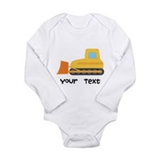Personalized Bulldozer Long Sleeve Infant Bodysuit