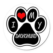 I Love My Dachshund Round Car Magnet