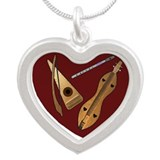Cute Bowed dulcimer Silver Heart Necklace