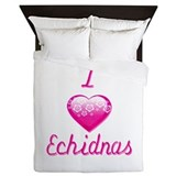 I Love/Heart Echidnas Queen Duvet