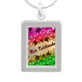 Mele Kalikimaka with flowers Silver Portrait Neckl