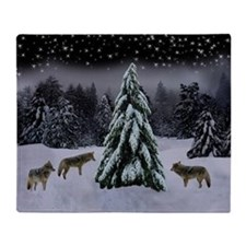 Coyotes in Snow Throw Blanket