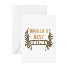World's Best Fireman (Wings) Greeting Card