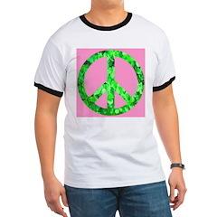 Shamrock Peace Symbol on Pink Ringer T